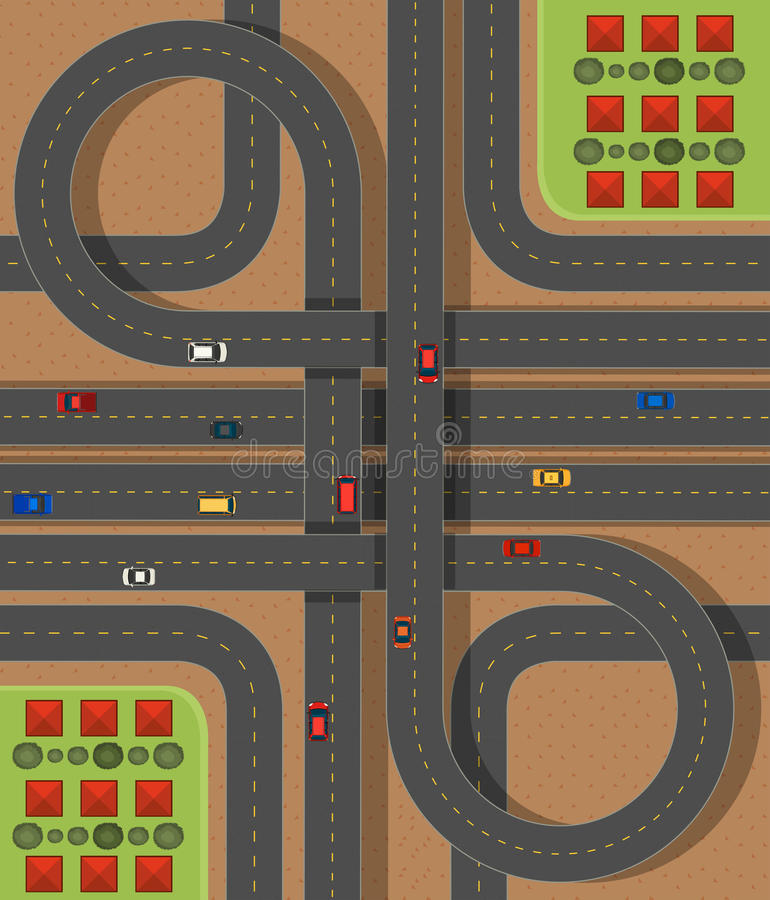 Aerial scene with roads and cars. Illustration royalty free illustration