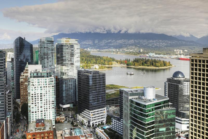Aerial scene of the Vancouver, Canada downtown stock images