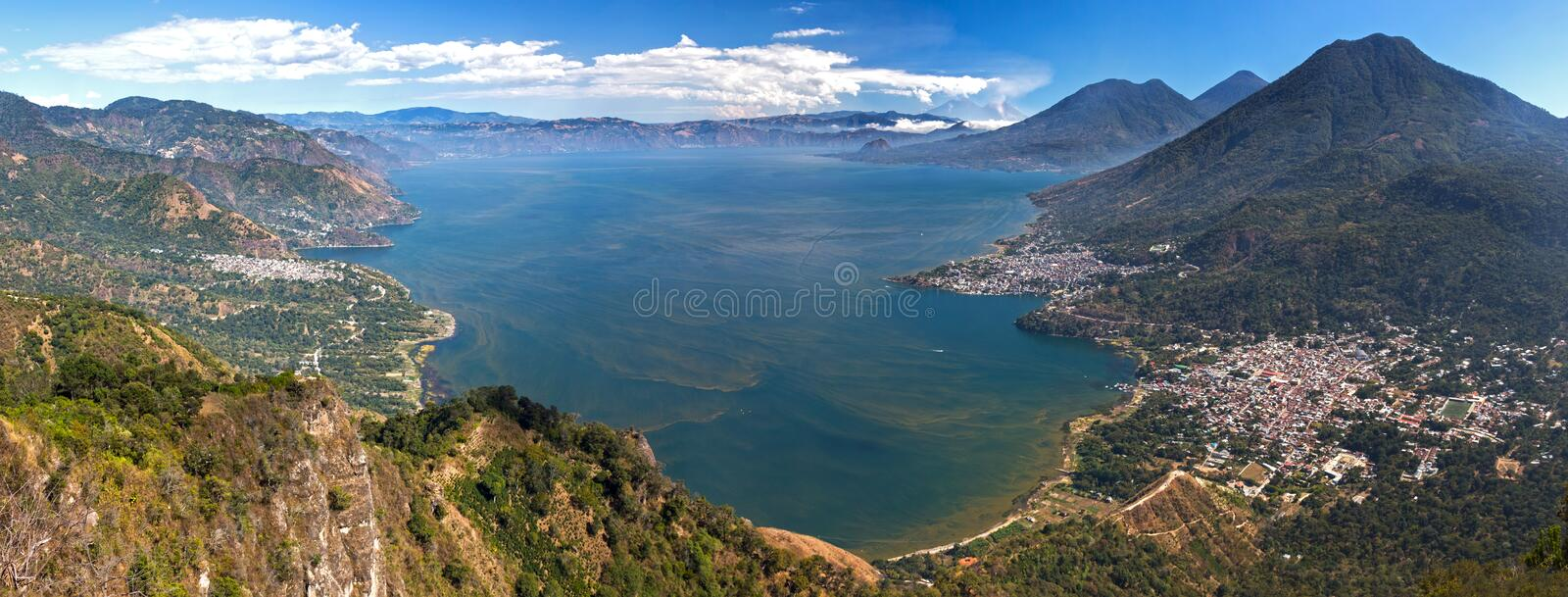 Aerial Wide Panoramic Scenic View Blue Lake Atitlan Guatemala Volcano Landscape royalty free stock photography