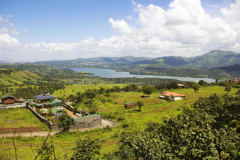 Aerial and scenic view of backwaters of Khadakwasla dam, Sinhagad fort, holiday resort, Pune district stock photography