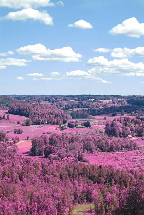 Aerial scenic view from drone with infrared camera effect of natural landscape stock photo