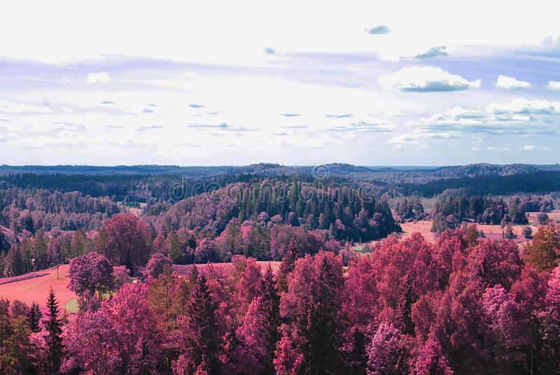 Aerial scenic view from drone with infrared camera effect of natural landscape royalty free stock image