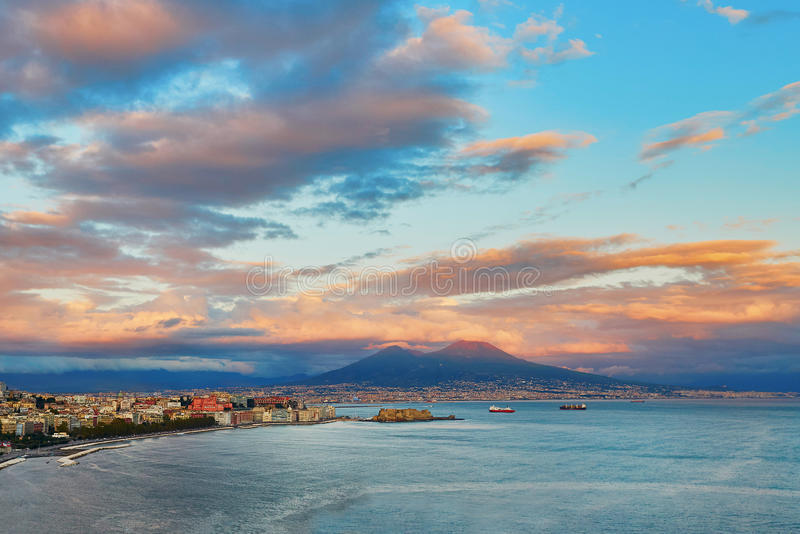 Aerial scenic view of Naples with Vesuvius volcano at sunset stock photography