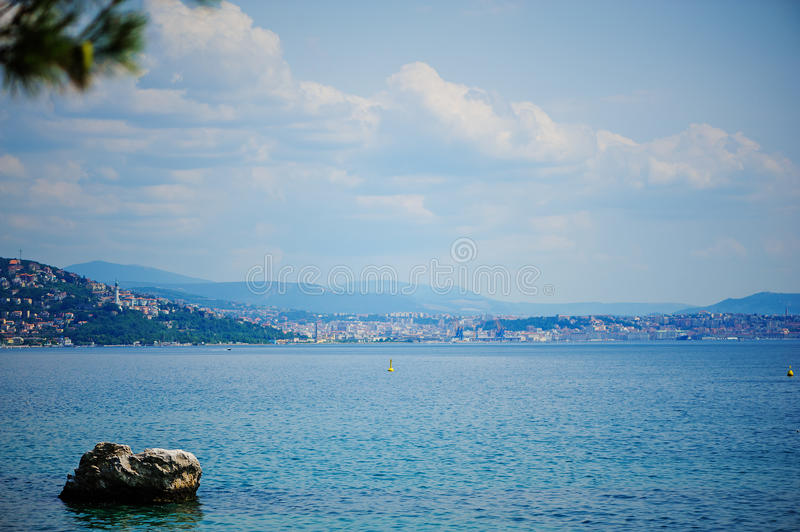 Aerial sea view from Miramare castle in Trieste, Italy. Beautiful summer aerial sea view from Miramare castle in Trieste, Italy royalty free stock photo