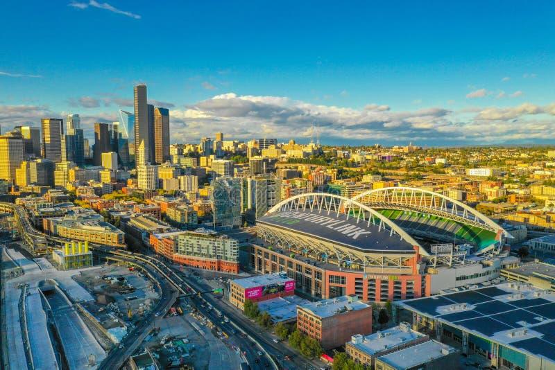 Aerial Seattle ands Centurylink Field Stadium stock photos