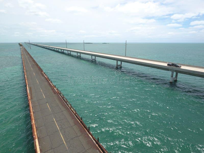 Aerial seven mile bridge. Aerial drone image of the 7 mile bridge in the Florida Keys royalty free stock image