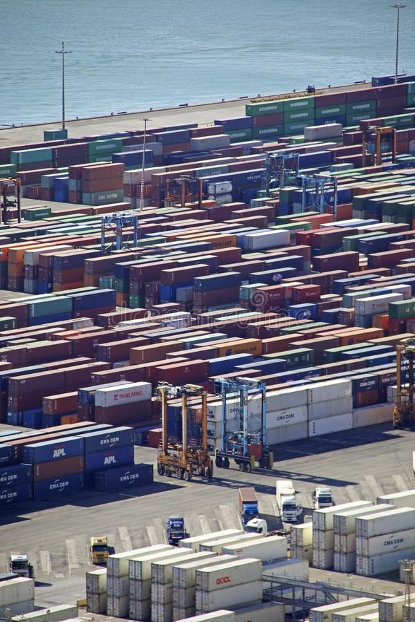 Aerial of shipping containers at Barcelona Port royalty free stock photography