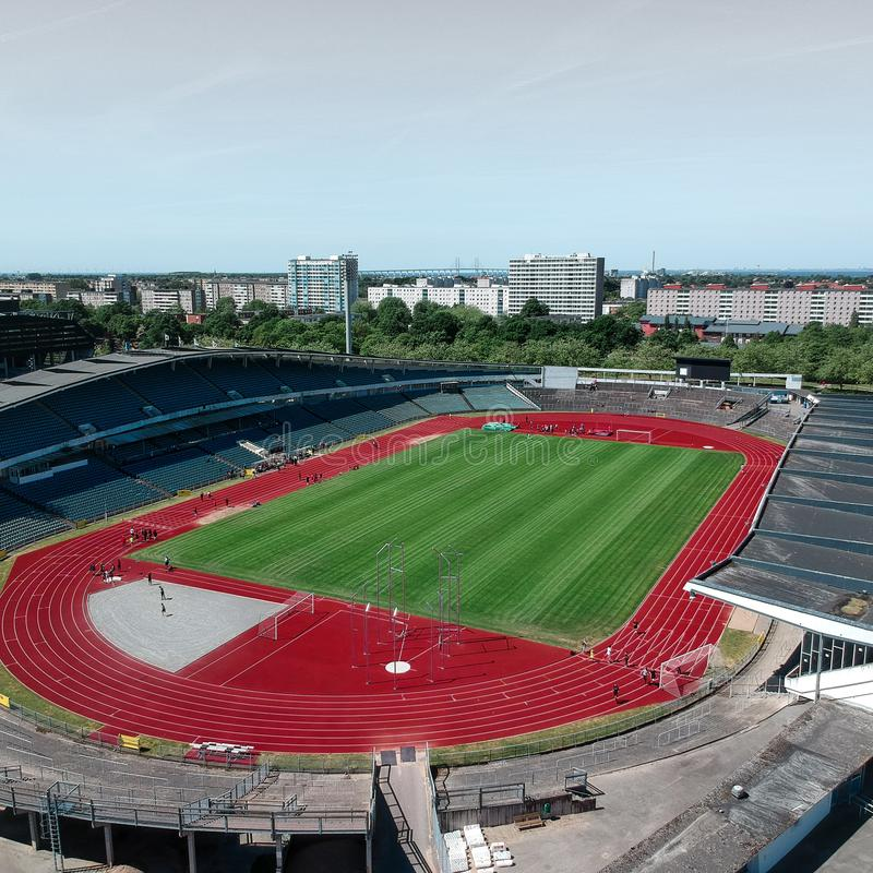 Aerial shoots on athletic stadium in Malmö stock images