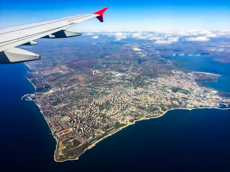 Aerial shooting from an airplane flying over the Sea of Marmara. Turkey. Istanbul stock image