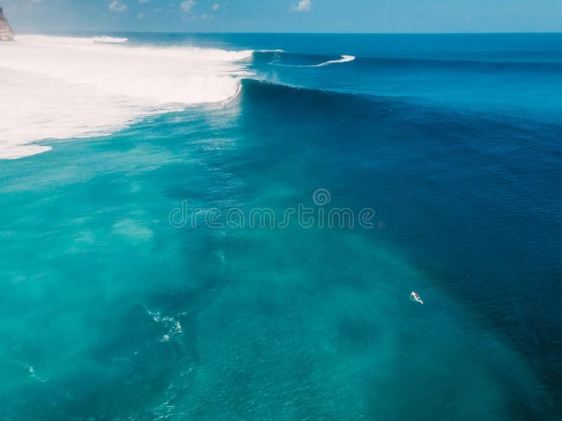 Aerial shooting of big wave surfing. Big waves in ocean royalty free stock photography