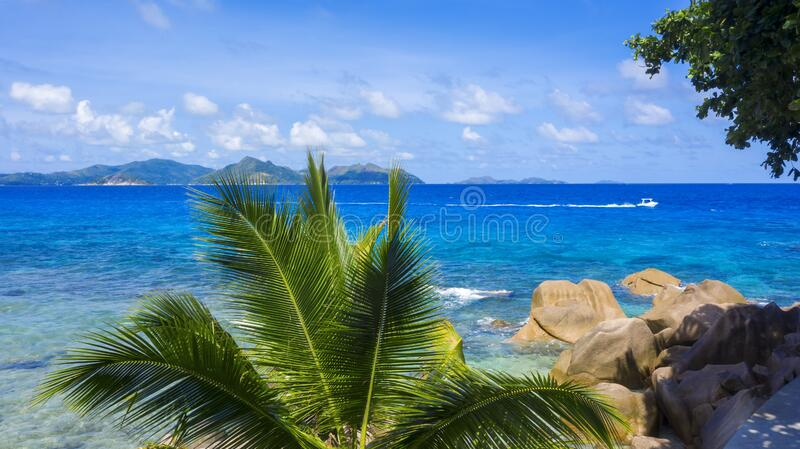 Aerial shooting in tropical regions of the planet. Seyshelles. Tropical islands and beaches. Shooting from the drone. Pure turquoise waters of the ocean. White stock photography