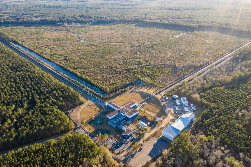 Aerial view of the Advanced LIGO detector in Livingston. Aerial shot of the advanced LIGO gravitational detector in Livingston, Louisiana royalty free stock image