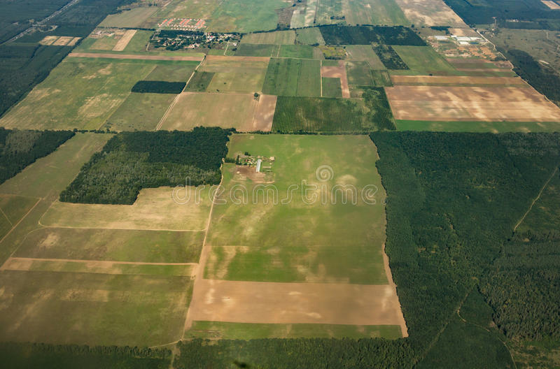 Aerial shot of agriculture fields royalty free stock photos