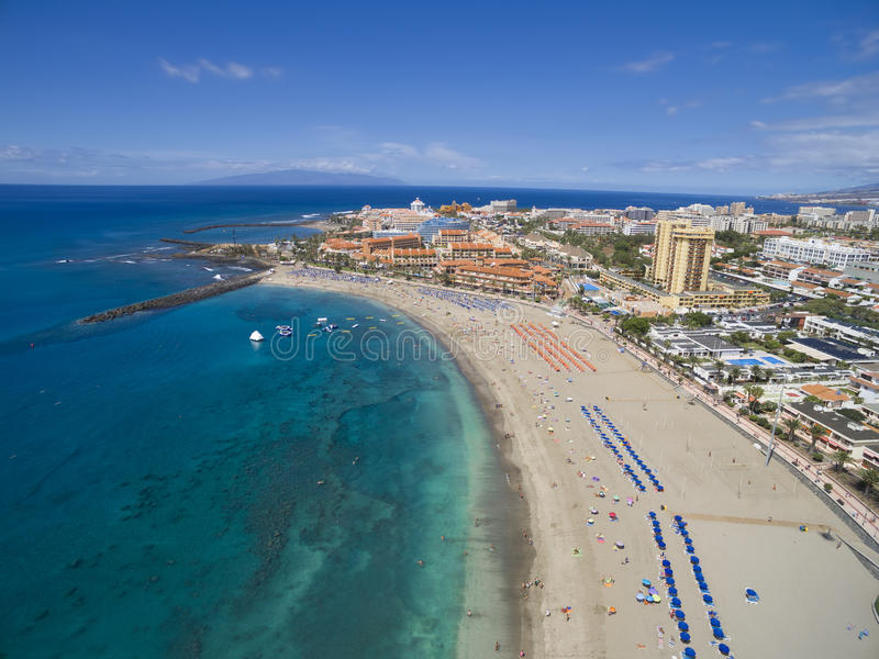 Aerial shot of beach and ocean in Adeje Playa de las A. Aerial shot of beautiful beach and ocean in Adeje Playa de las Americas, Tenerife islands, Spain stock image