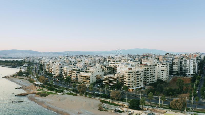 Aerial shot of the beachfront houses of Palaio Faliro, a coastal district of Athens, Greece royalty free stock images