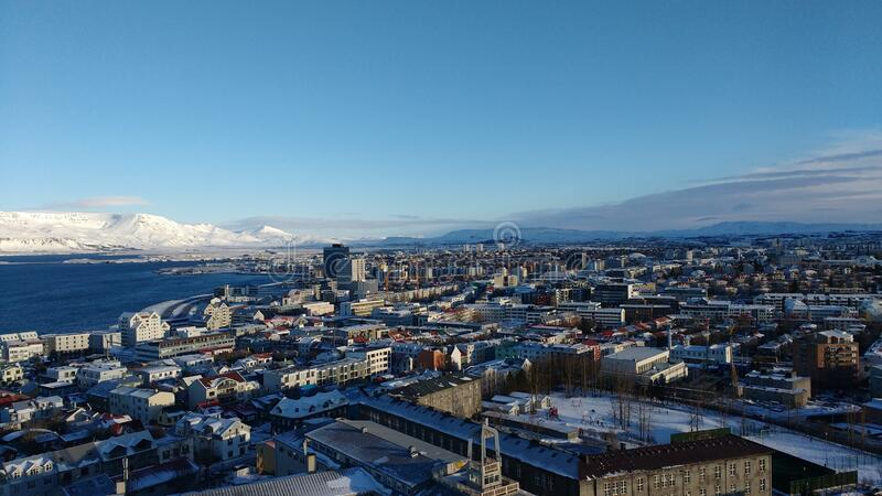 Aerial shot of the beautiful coastal city Reykjavik, Iceland during winter. An aerial shot of the beautiful coastal city Reykjavik, Iceland during winter stock photography