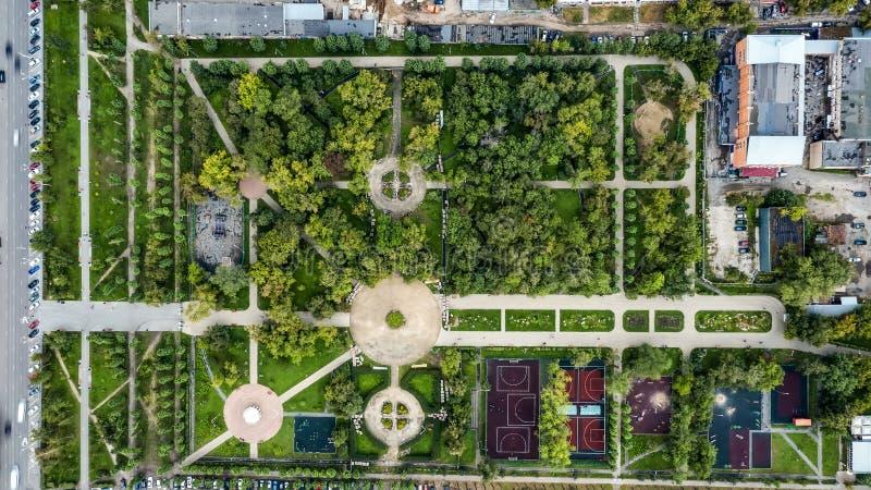 Aerial shot of beautiful metropolitan Park with tree paths, sports grounds. Aerial shot of beautiful metropolitan Park with tree paths, sports grounds stock images