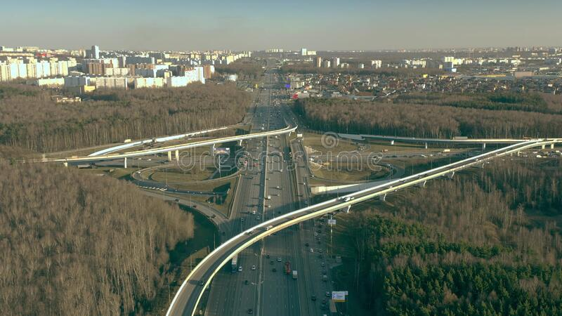 Aerial view of big highway interchange of Leninsky Prospekt and Moscow Ring Road, Russia. Aerial shot of a big highway interchange in Moscow, Russia royalty free stock images