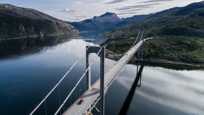 Aerial shot of bridge Rombaksbrua over Straumen bay of Ofotfjord royalty free stock photos