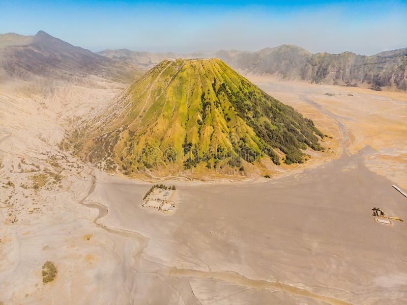 Aerial shot of the Bromo volcano and Batok volcano at the Bromo Tengger Semeru National Park on Java Island, Indonesia. One of the most famous volcanic objects royalty free stock photo