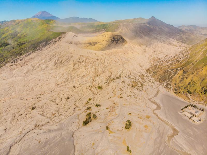 Aerial shot of the Bromo volcano and Batok volcano at the Bromo Tengger Semeru National Park on Java Island, Indonesia. One of the most famous volcanic objects stock photos