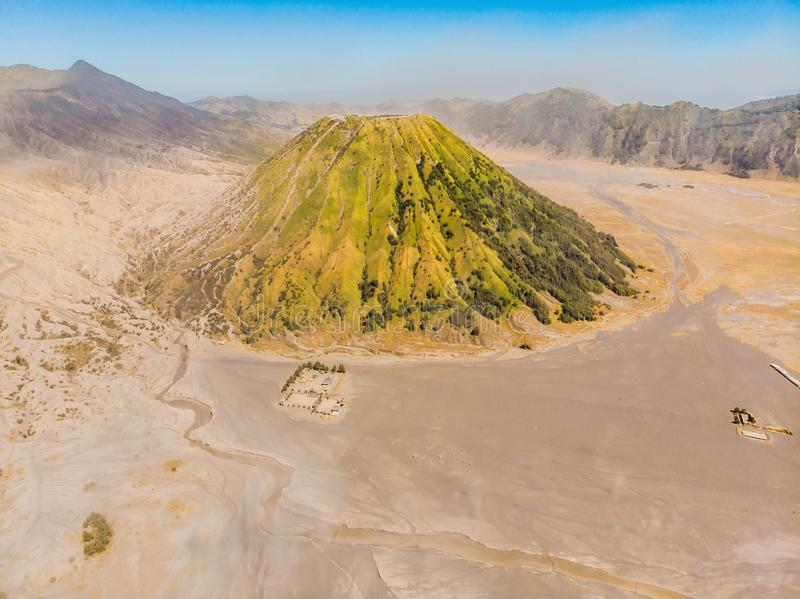 Aerial shot of the Bromo volcano and Batok volcano at the Bromo Tengger Semeru National Park on Java Island, Indonesia. One of the most famous volcanic objects royalty free stock images