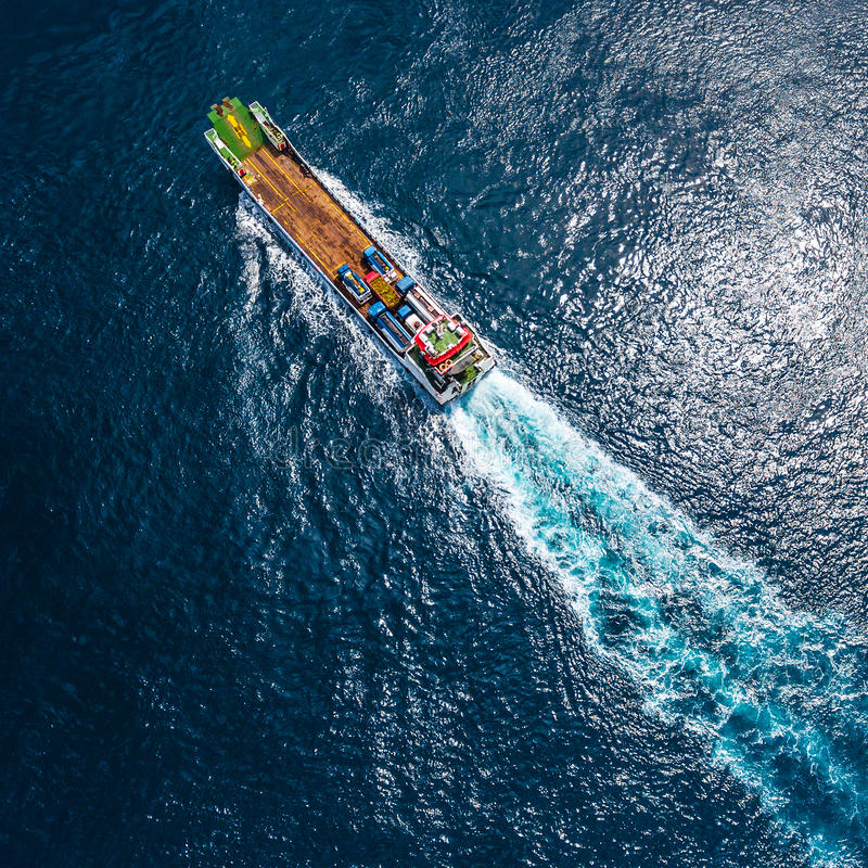 Aerial shot of the cargo ship stock image