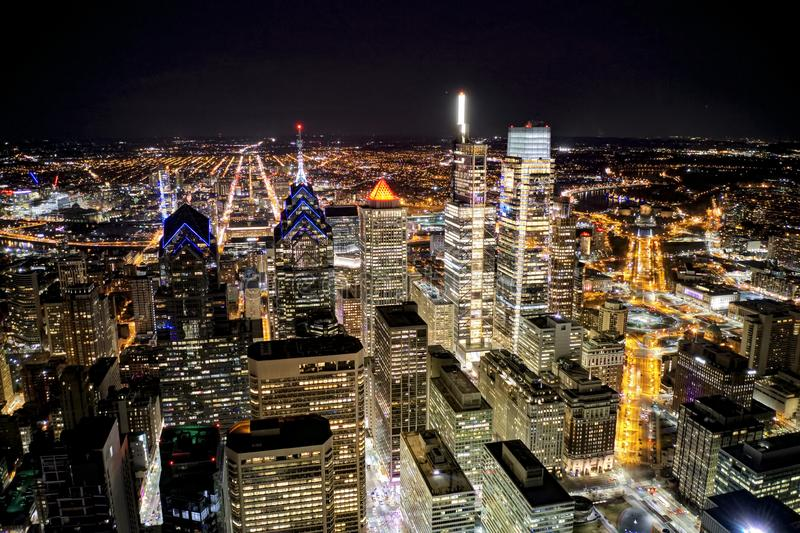 Aerial Shot Center City Philadelphia at Night.  royalty free stock photography