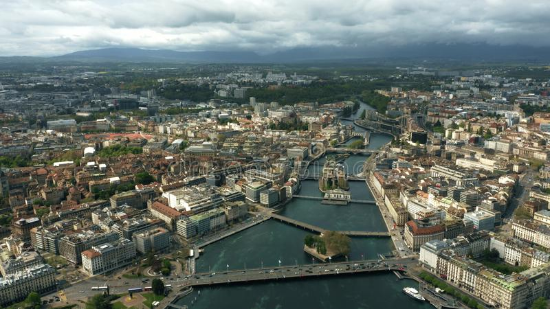 Aerial shot of the city of Geneva and the River Rhone royalty free stock images