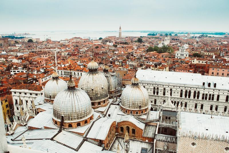 Aerial shot of the city view of white and brown buildings in Venice, Italy stock photography