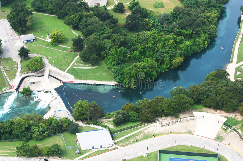 Aerial shot of Comal River in Texas stock photography