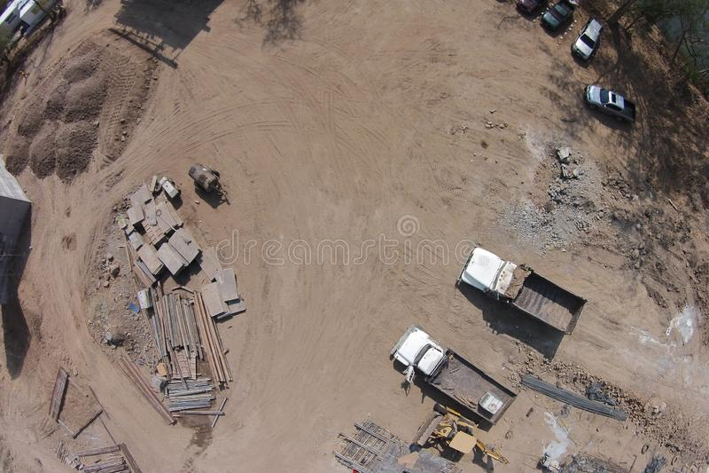 Aerial shot of construction process of a bridge over a river stock image