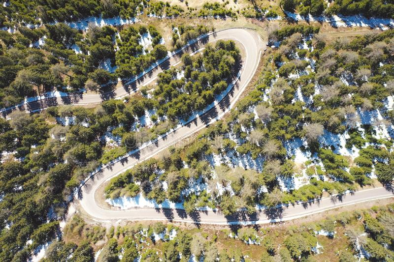 Aerial shot of a curvy road going through a beautiful forest royalty free stock photo