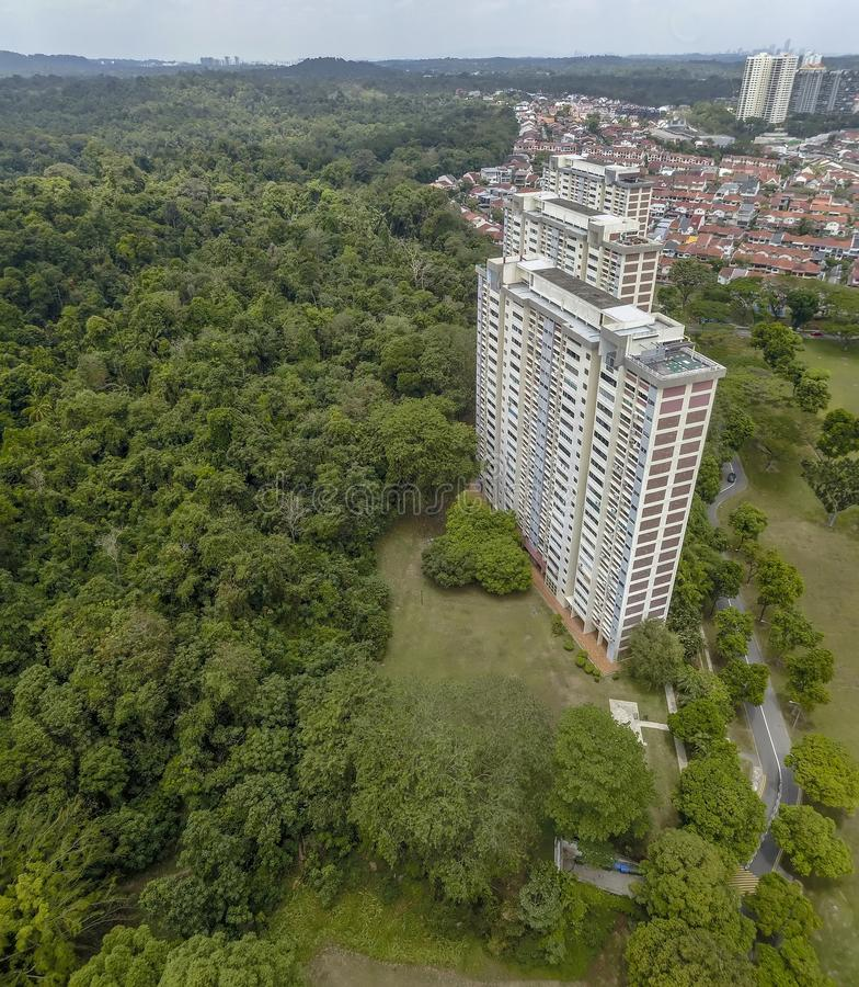 Aerial shot of flats and nature. Aerial shot of three blocks of flats in a lush green surrounding near Macritchie Reservoir, Singapore. Image captured with a DJI stock photo