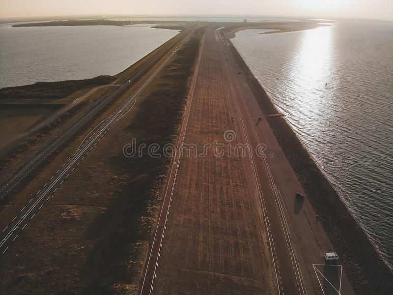 Aerial shot of Goeree-Overflakkee, The Netherlands, Brouwersdam 2019. Protecting Holland from rising water levels stock images