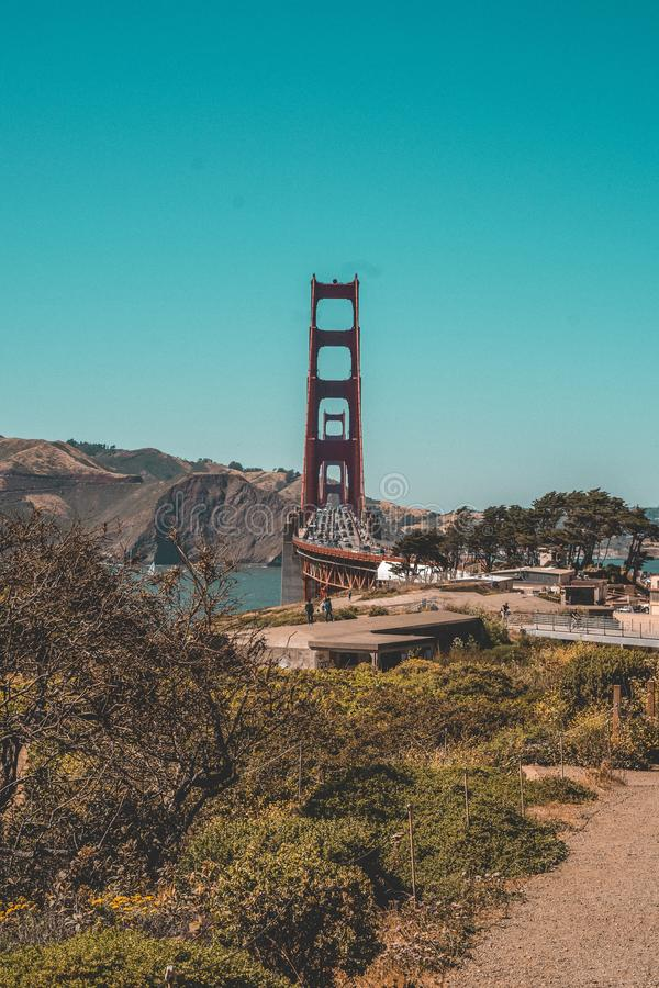Aerial shot of the Golden Gate Bridge in San Francisco with a lot of traffic on it royalty free stock photo