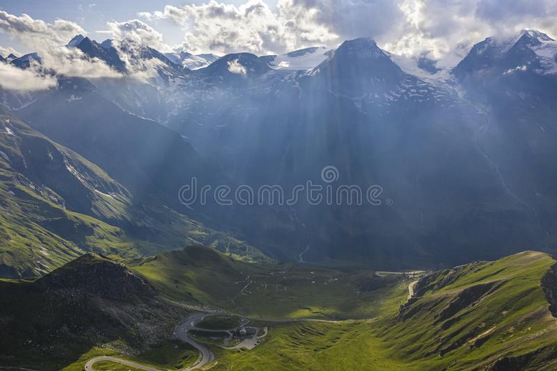Aerial shot of the Grossglockner alpine road under a cloudy sky in Austria stock photography