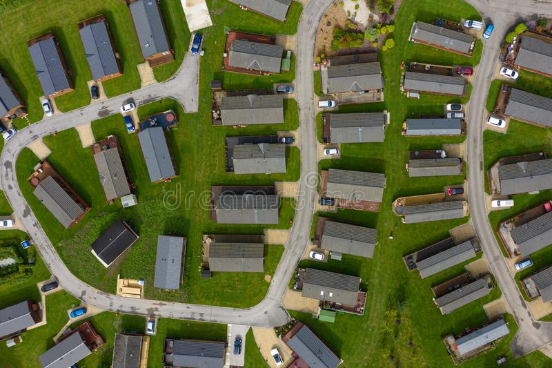 Aerial shot of groups of caravans and trailer homes in the UK royalty free stock image