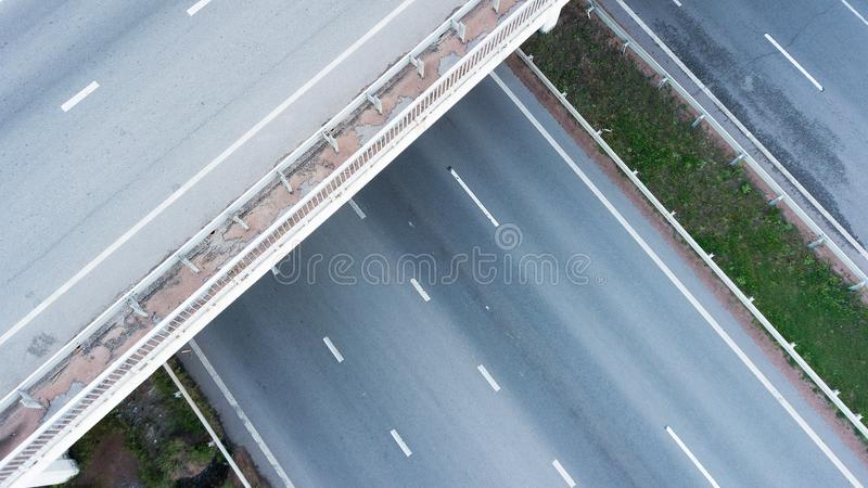 Aerial shot of highway junction.  stock images