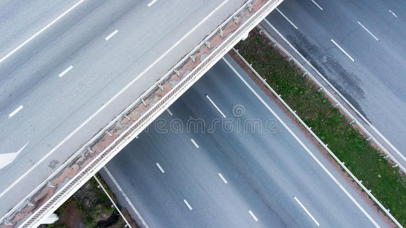 Aerial shot of highway junction.  royalty free stock images