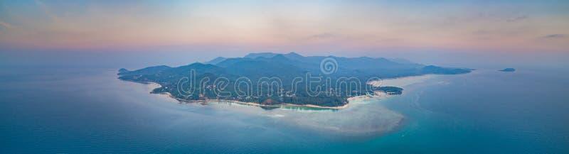 Aerial shot Ko Pha-ngan island at the sunset. royalty free stock photos
