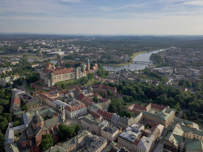 Aerial shot of Krakow Old Town at summer time stock photos
