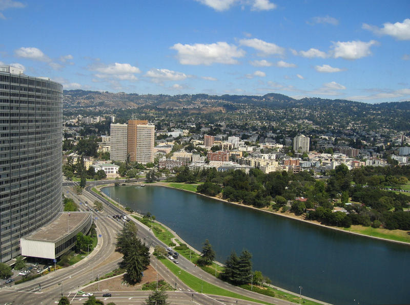 Aerial shot of Lake Merritt. Oakland, California royalty free stock photo