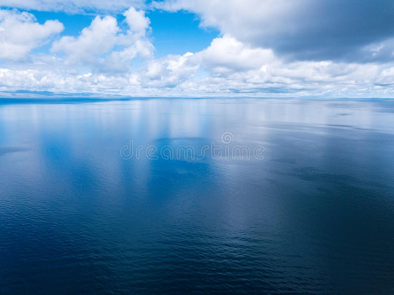 Aerial shot of the lake of Titicaca stock photo