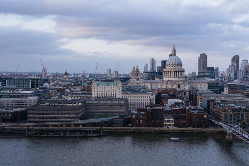 Aerial shot of a London skyline with st. paul`s cathedral in the distance royalty free stock photos