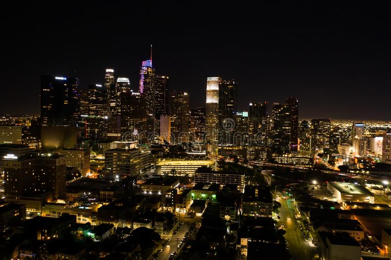 Aerial shot of Los Angeles downtown at night. In California royalty free stock images