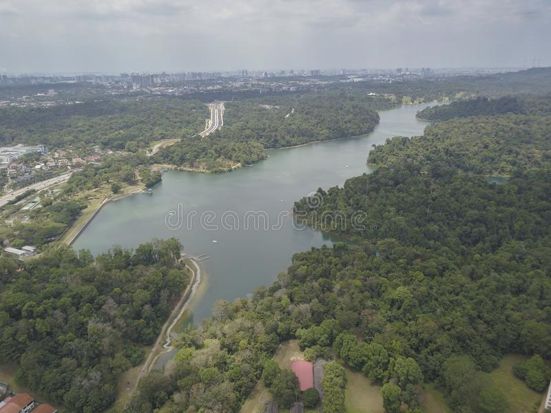 Aerial shot of Macritchie Reservoir. Singapore, the oldest reservoir in Singapore dating back to 1867. Image captured with a DJI Mavic Pro on 3rd March 2019 royalty free stock photography