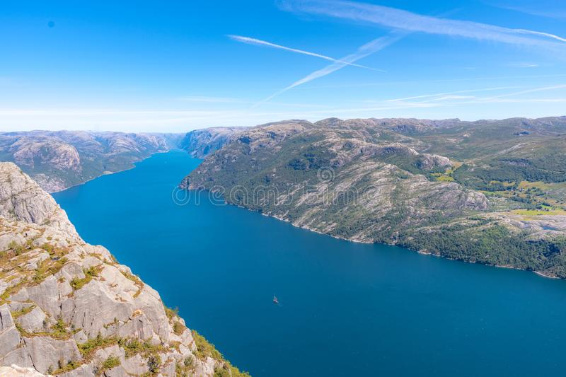 Aerial of Norwegian Fjord landscape. Aerial shot of Norwegian Fjord landscape on a sunny day stock photos