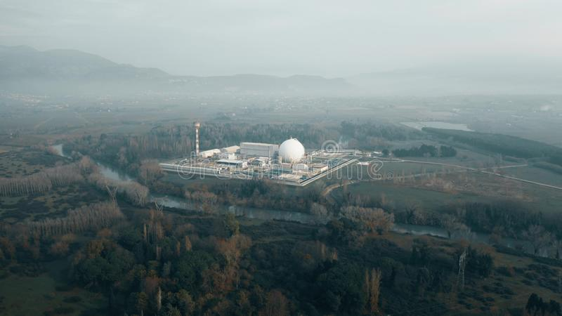 Aerial shot of a nuclear power plant. Aerial view of a nuclear power plant stock photos