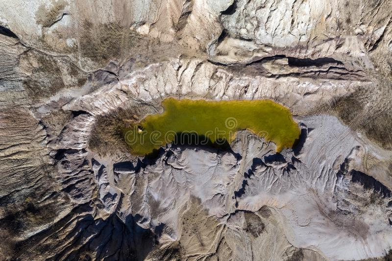 Aerial shot of opencast mine lake stock images